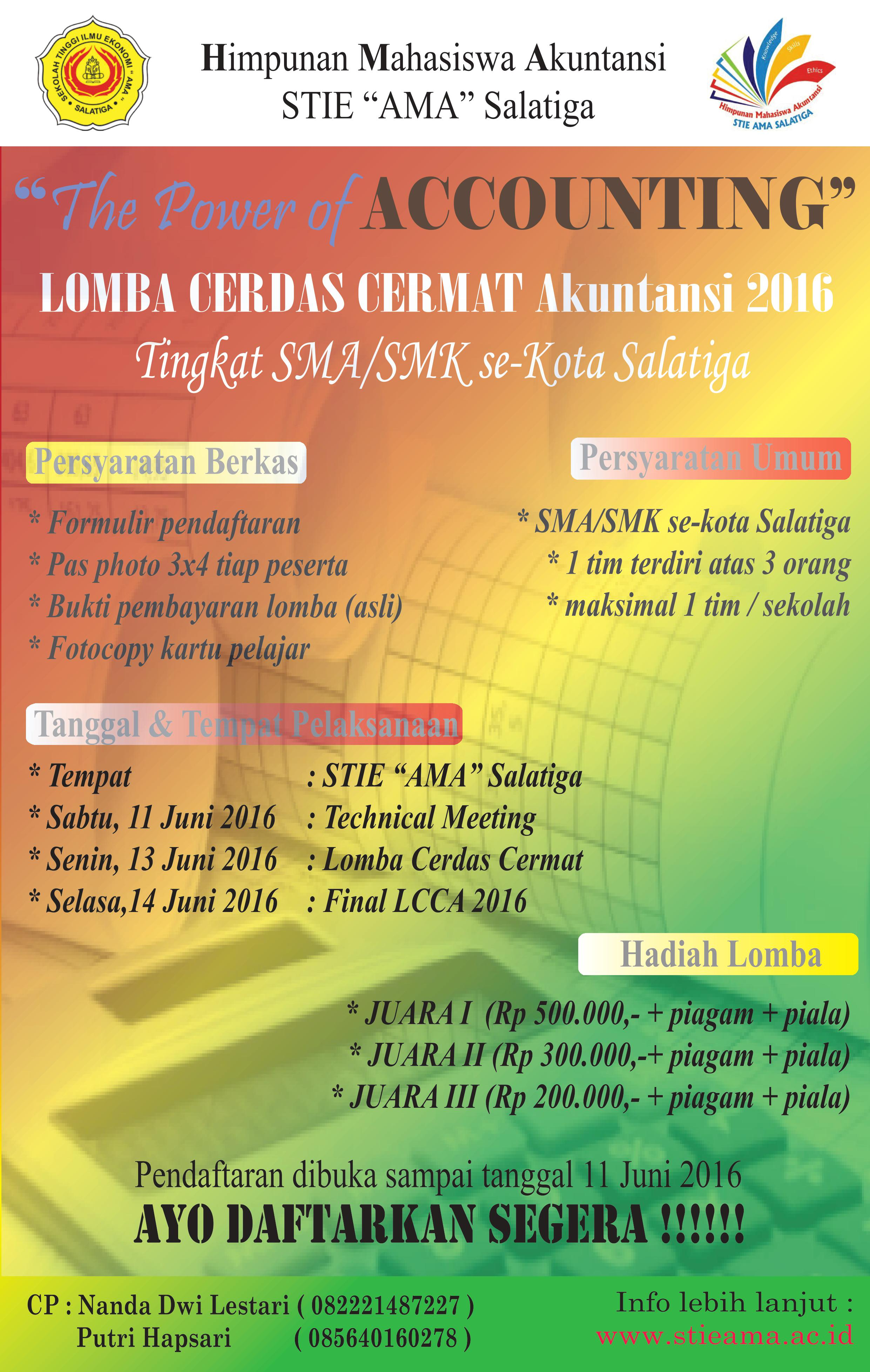 """Lomba Cerdas Cermat Akuntansi 2016 """"The Power Of Accounting"""""""