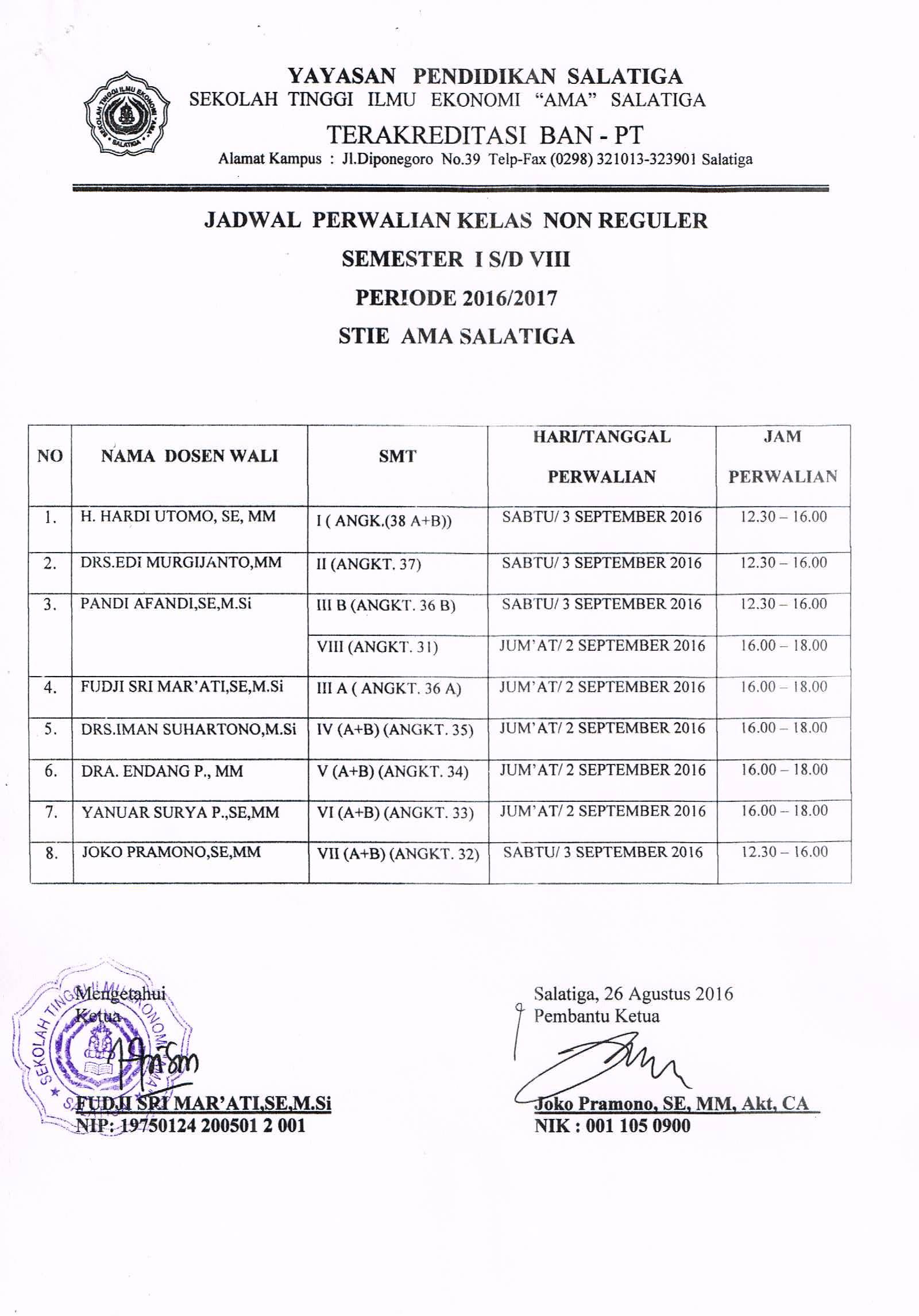 Jadwal Perwalian Mahasiswa kelas NonReguler semester I s/d VIII periode 2016/2017