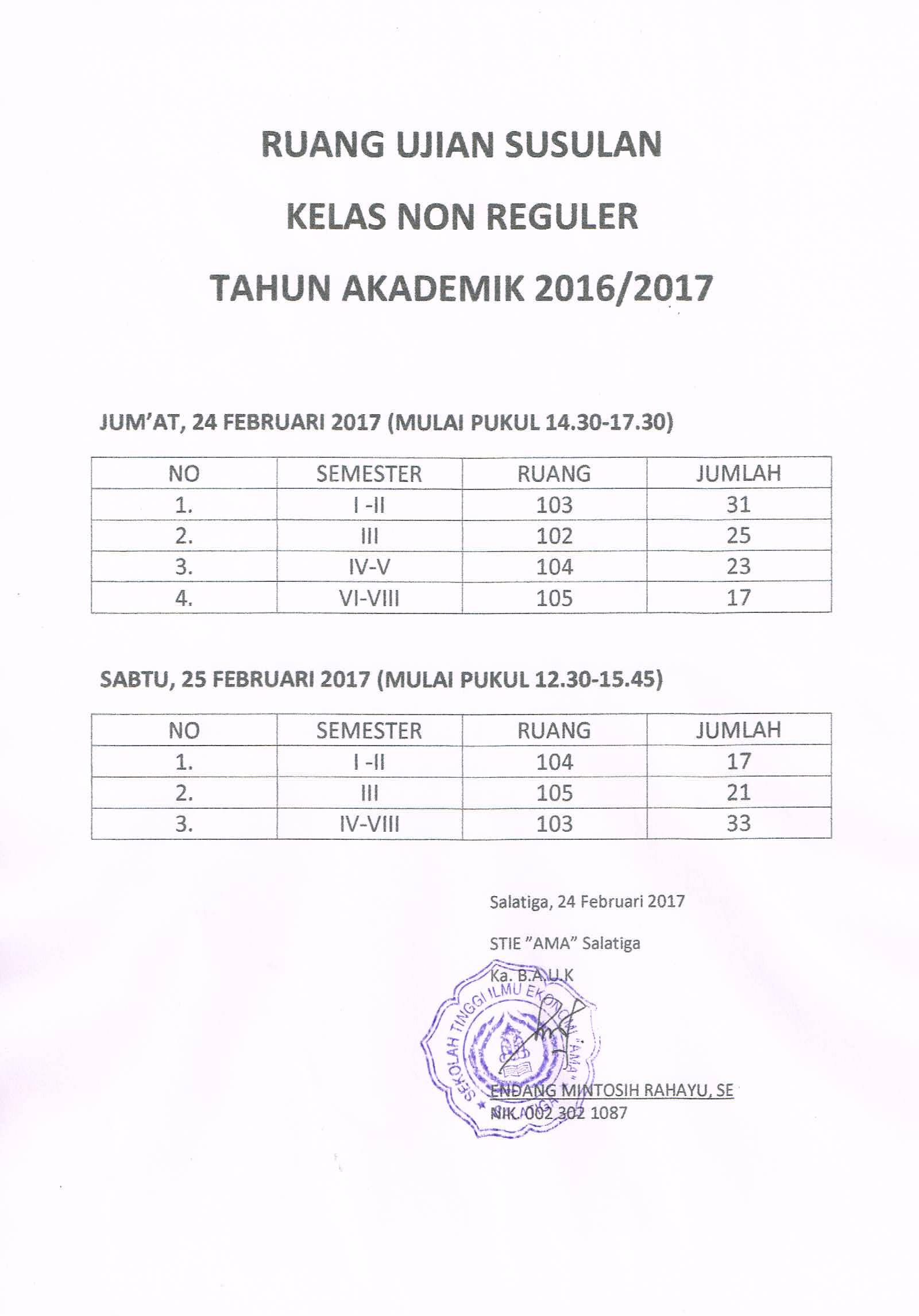 Jadwal Ruang Ujian Susulan Kelas NonReguler Th. Akademik 2016/2017